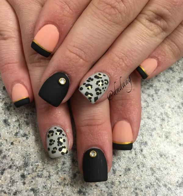 Pink and black with leopard nail art