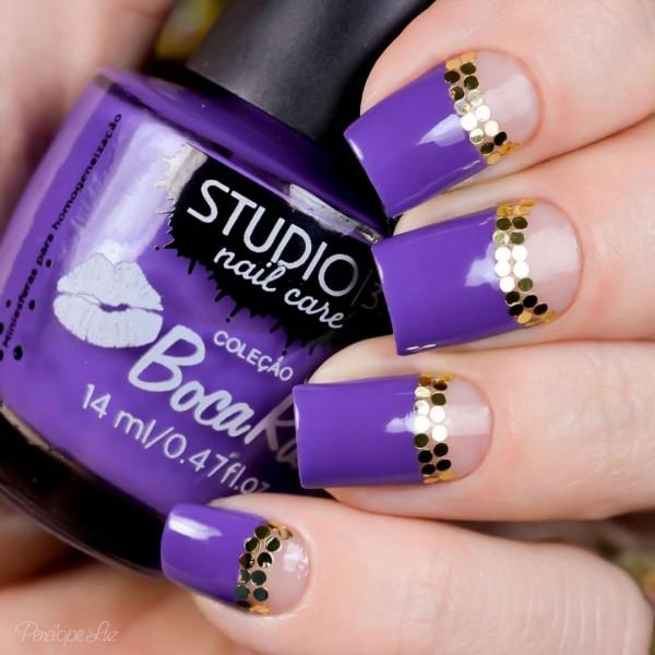 Purple and gold glitter nail art