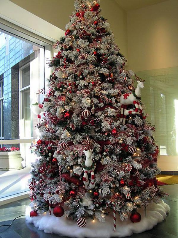 Red And White Themed Christmas Tree Adorn Your In Ornaments