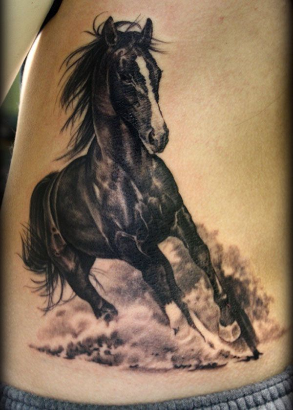 black and white horse tattoo
