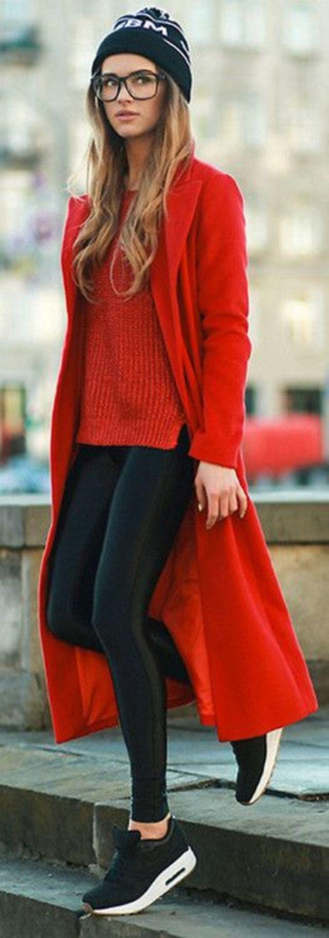black sneakers + leather skinnies + red sweater + red coat + black beanie