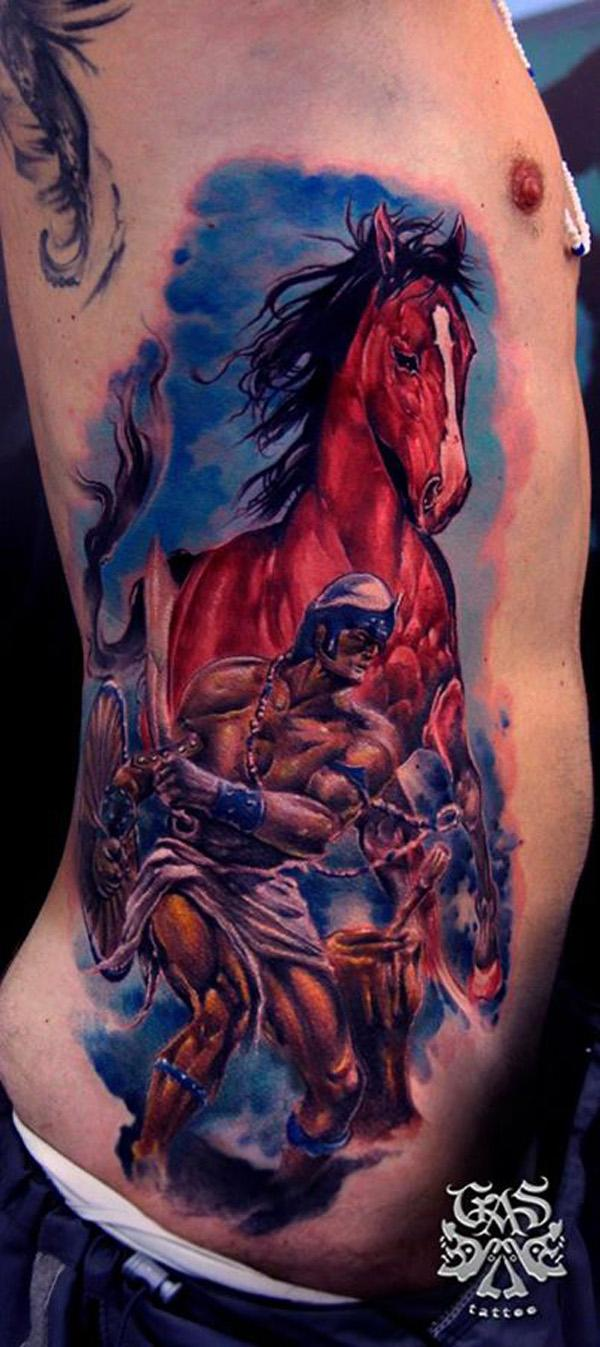 colored warrior with horse side tattoo