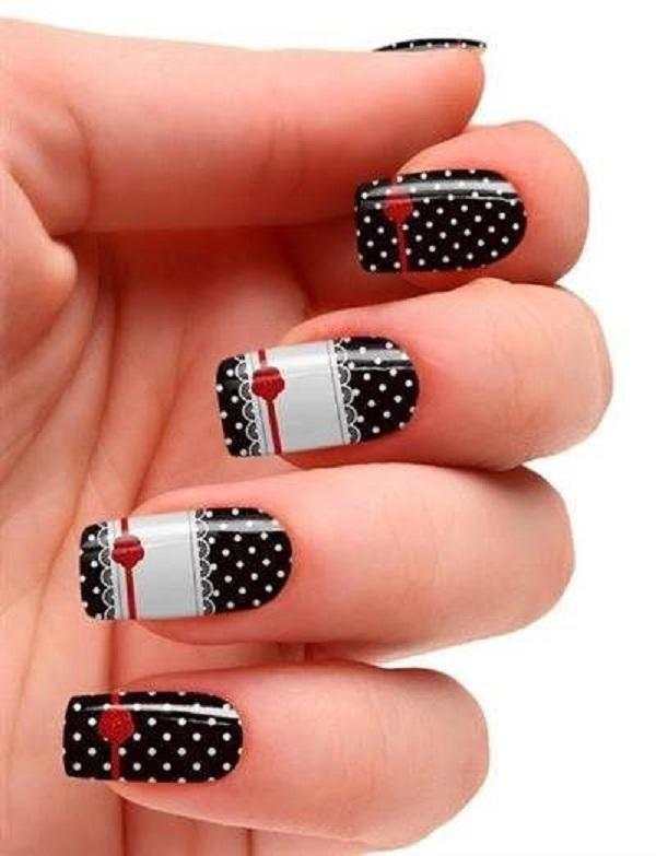 dots and lace nail art