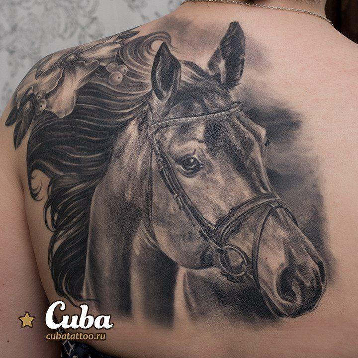 horse portrait tattoo