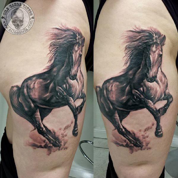 thigh horse tattoo