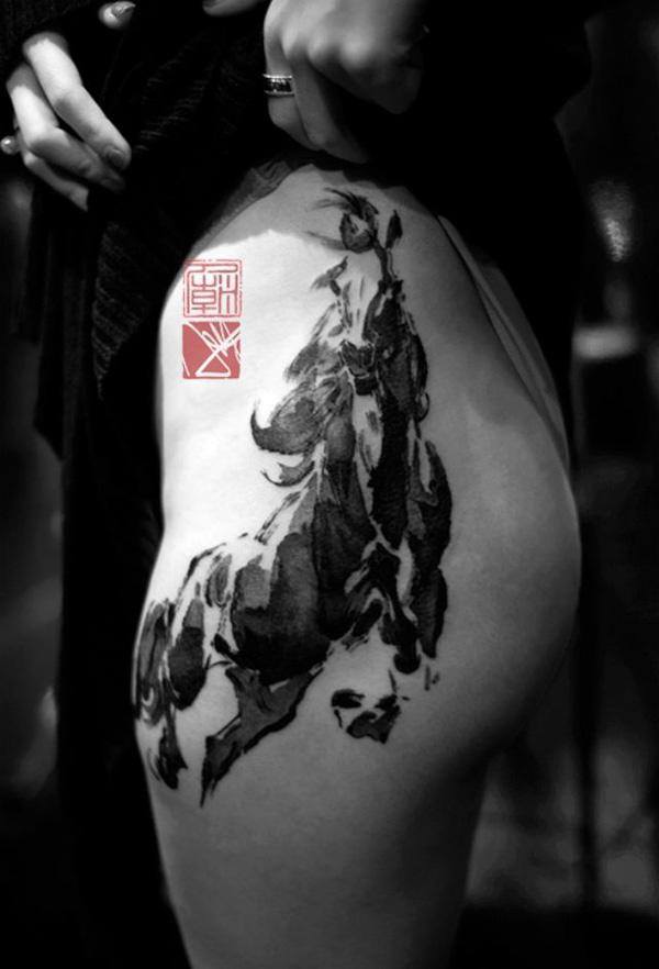 traditional Chinese painting style horse tattoo on thigh