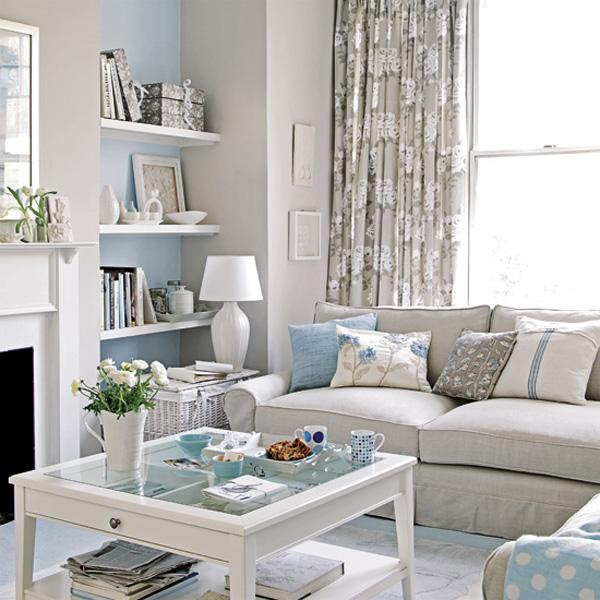 Ideal White flowers bined with a sky blue and white themed room with hints of copper