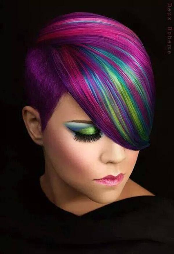 Amazing short rainbow dyed hair