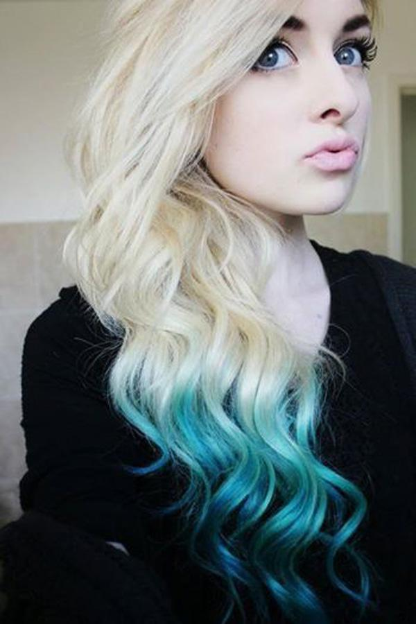 Cool blonde, teal ombre. A clear glaze over top will help seal in the color and add some shine