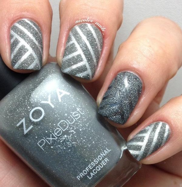 35 gray nail art designs art and design cool gray nails gray and silver glitter nail polish design in diagonal stripes prinsesfo Images