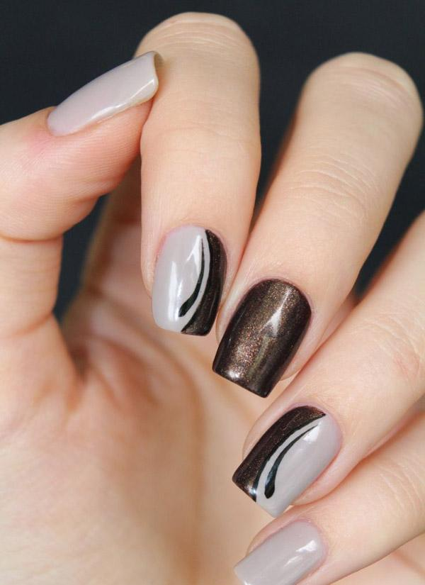 35 gray nail art designs art and design light gray and copper glitter nail art design create half moon design of light gray prinsesfo Images