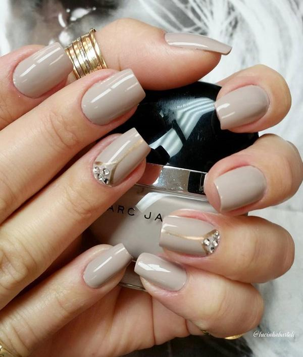 Brown gray and gold nail art design. A wonderful looking nail art design  with thin ... - 35 Gray Nail Art Designs Art And Design