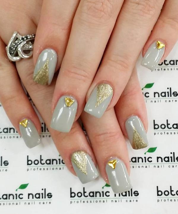 Gold metal with gray nail art