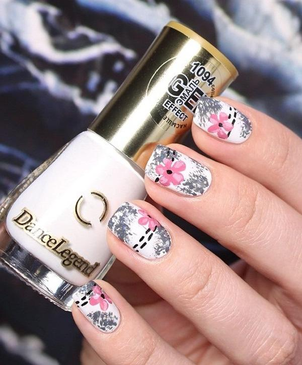 Gray and pink flower nail