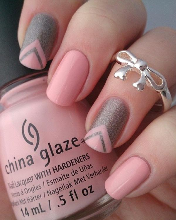 35 gray nail art designs art and design pink and gray glitter nails art design paint alternatively gray glitter nail polish with pink prinsesfo Images