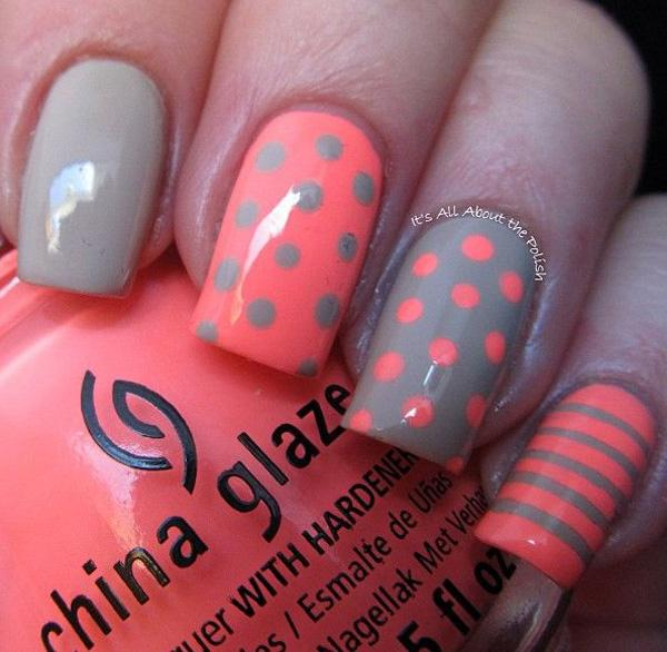 Gray, orange, polka dots, stripes. Romantic