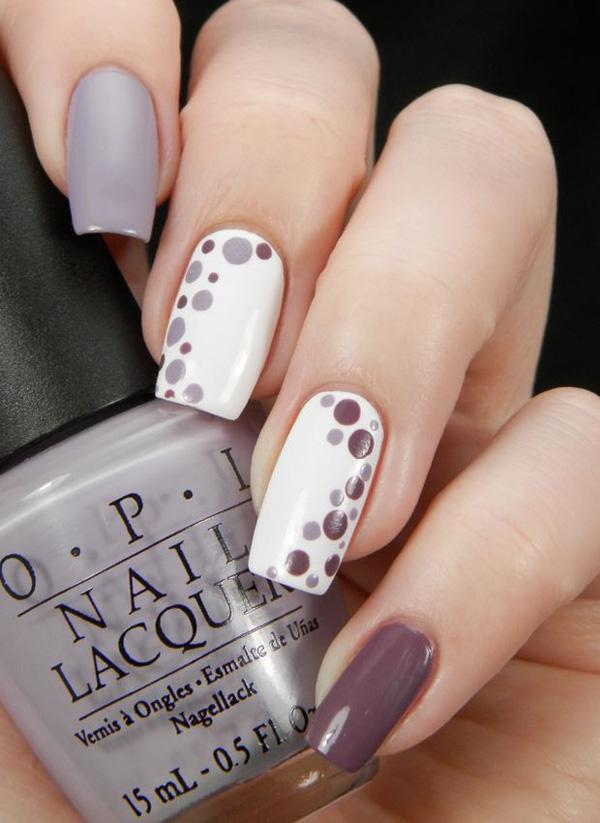 35 gray nail art designs art and design gray plum and white nail polish combination design your nails with white and plum gray prinsesfo Gallery