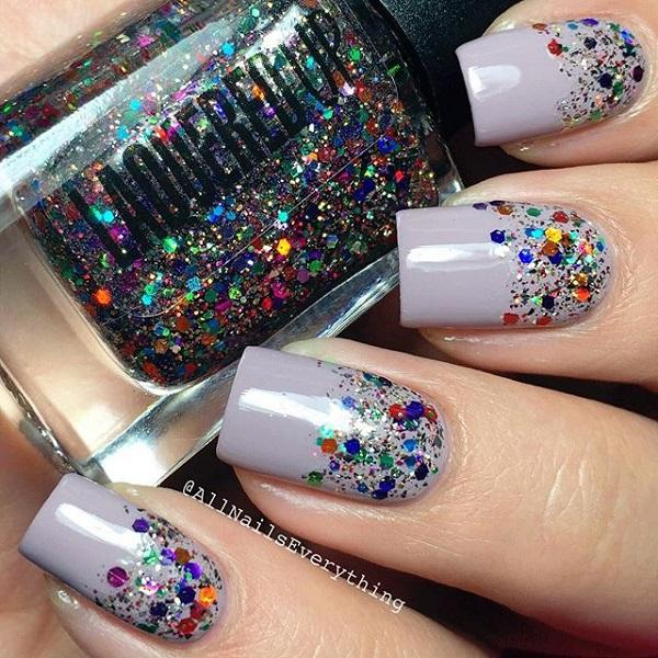 Gray with glitter nail art
