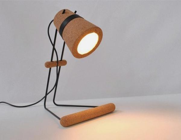A simple yet pretty looking lamp made out of cork material.