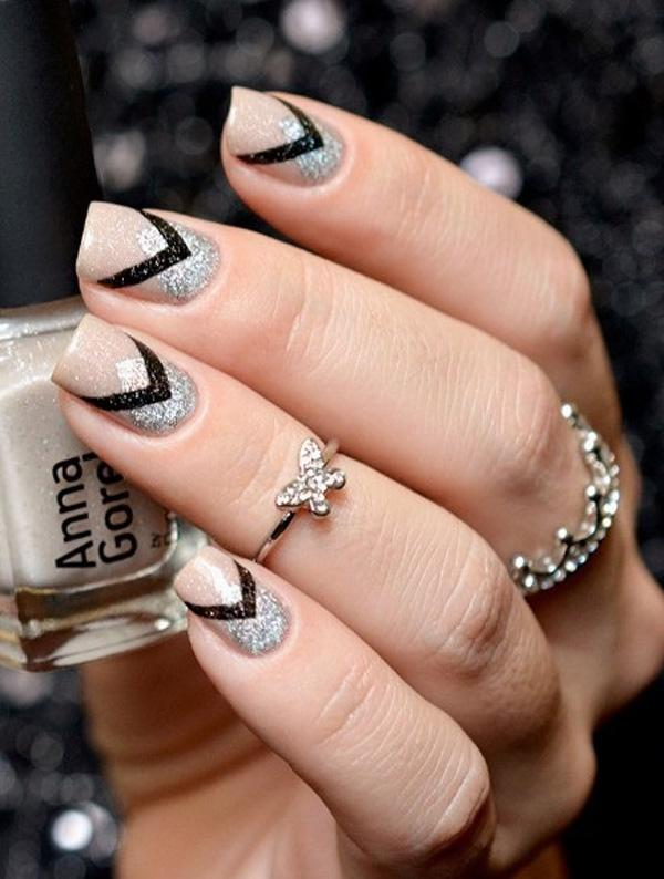 Nude color with gray glitter nail art