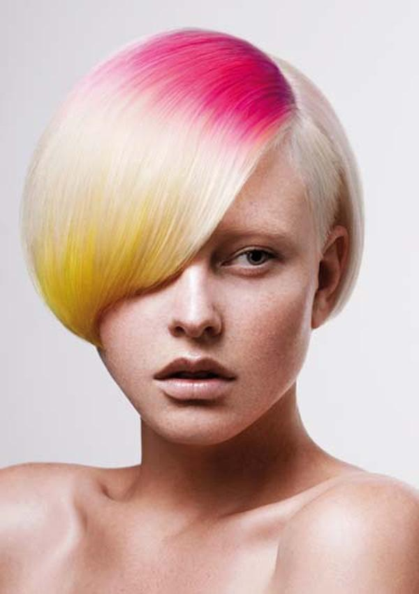 Ombre pink and yellow dyed hair