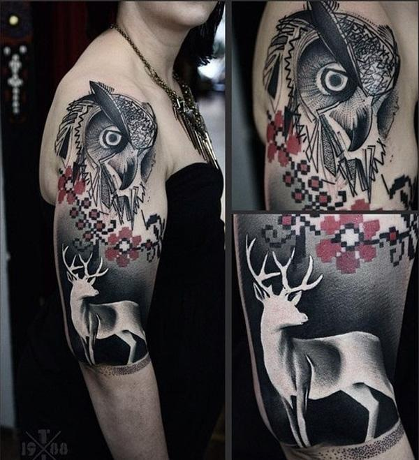 Owl and deer sleeve tattoo