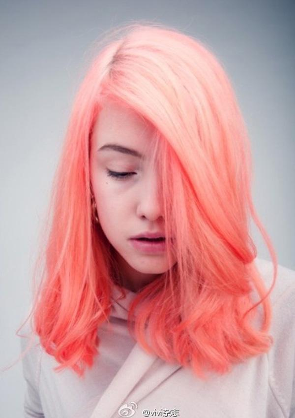 Peach dyed hair via Vivi Fashion