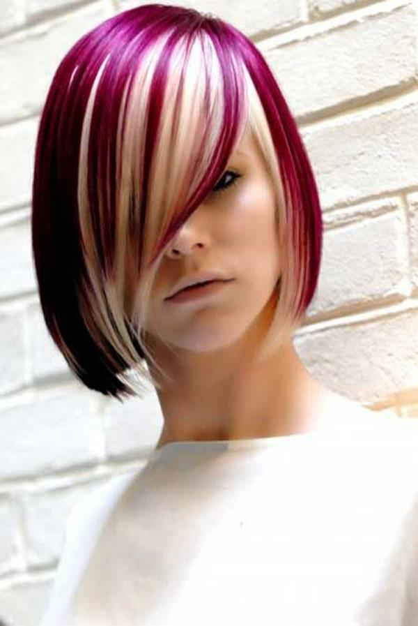 Short Blonde Hairstyle with Henna Red Highlights