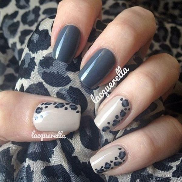 Dark gray animal prints nail art design. A strong looking nail art design  with matter ... - 35 Gray Nail Art Designs Art And Design