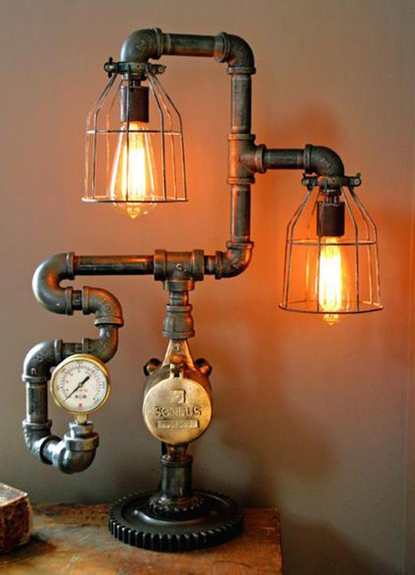 Steampunk Steam Gauge Plumbing Lamp