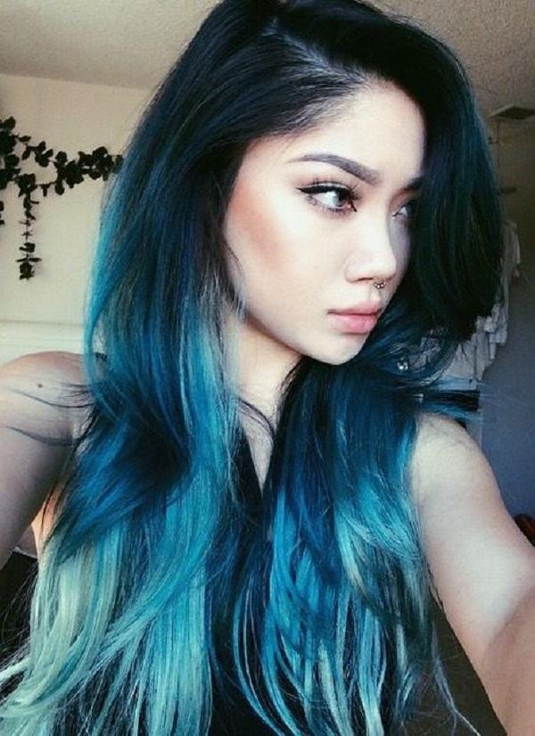 black and blue ombre another dyeing style that is popular nowadays is the ombre which - Color Tips Of Hair