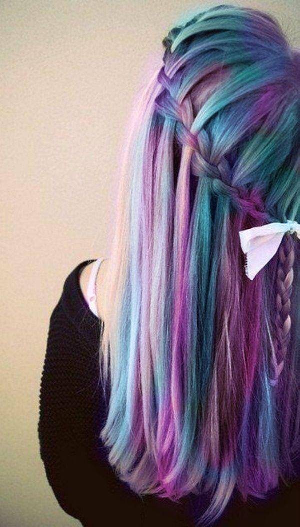 Waterfall braids look 10000x cooler dyed with Manic Panic