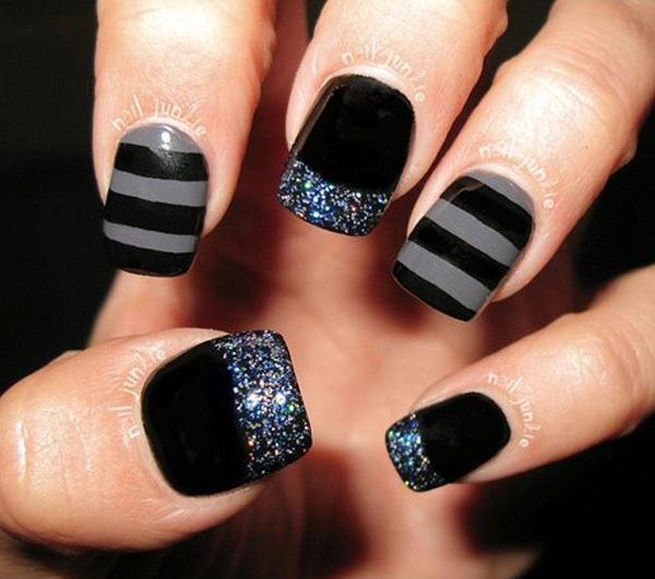 black and gray with sparkles - could do the stripes with sparkles instead of gray