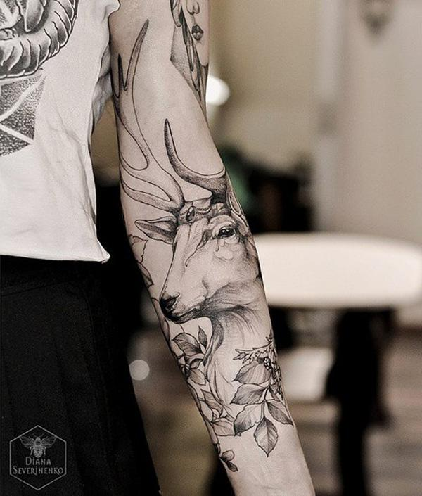 deer sleeve tattoo