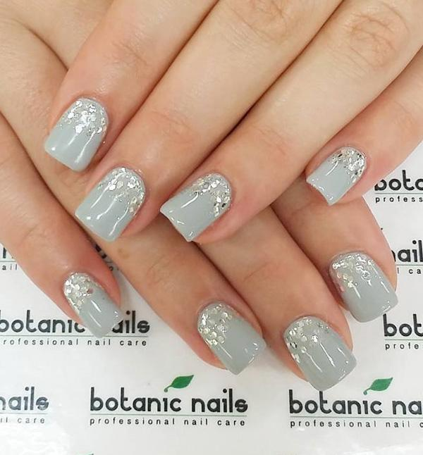 Blue gray and sequins nail art. Light and cheery looking nail art with the  help ... - 35 Gray Nail Art Designs Art And Design