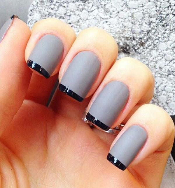 gray nails, black french tips