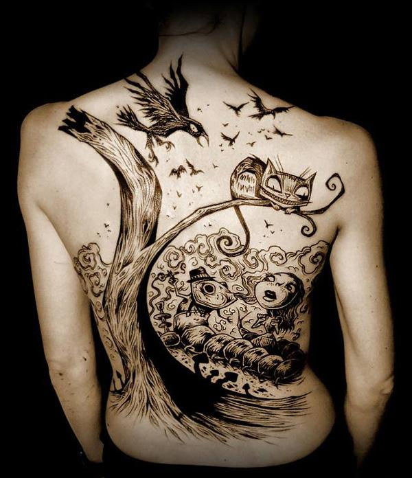 illustrarion style back tattoo