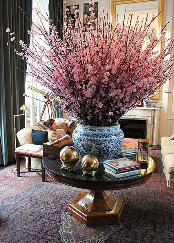 Take On This Wonderful Burst Of Pink Flowers Bundled In A Blue Porcelain Vase