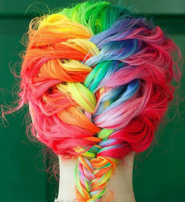 rainbow hair,dyed hair