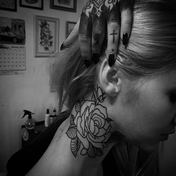 rose nack tattoo