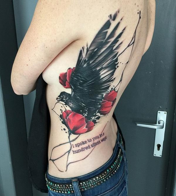 silent love- bird and rose tattoo