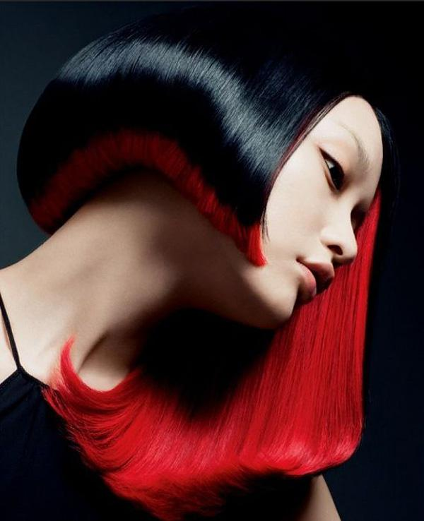 stunning hairstyle in red and black