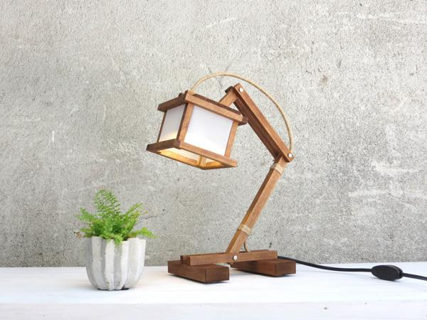 Cute Wooden Lamp. Fastened At The Joints, This Lamp Looks As Though It Was  ...