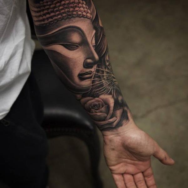 Buddha forearm tattoo