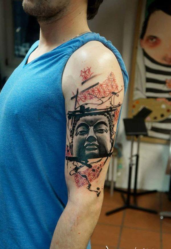 Buddha poratrait  sleeve tattoo-19