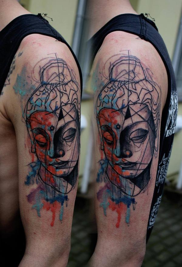 Buddha watercolor style sleeve tattoo