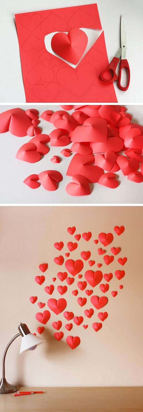 Make a wall of paper hearts. Template for download included