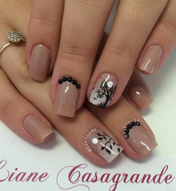 Nude color nail art-1