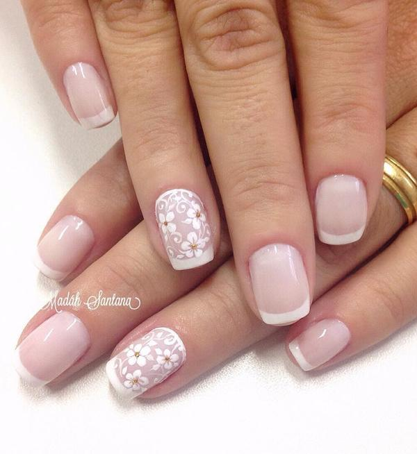 40 nude color nail art ideas art and design nude nail art with floral details and french tips combing your french tips with floral prinsesfo Gallery