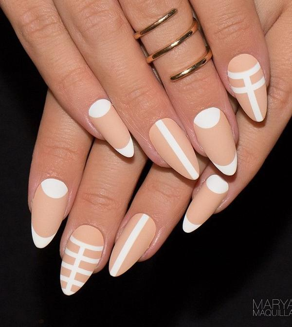 40 nude color nail art ideas art and design white and nude nail art design a combination of french tips cuticle shapes as prinsesfo Images